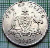 AUSTRALIA GEORGE V 1917 M ONE SHILLING, SILVER BETTER GRADE