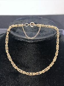 9CT Yellow Gold Byzantine Chain Bracelet with safety Chain. 7""