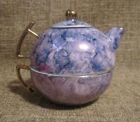 Herman Dodge&Son Hues n Blews Porcelain Ceramic Gold Leaf Tea Set For One