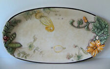 """Fitz and Floyd FATTORIA 16.25"""" Oval Platter PEAS PODS FLOWERS / NEW w/ tags"""
