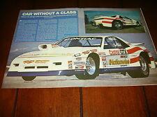 1985 PONTIAC FIERO ROD SHOP RACE CAR ***ORIGINAL 1992 ARTICLE***
