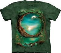 The Mountain Moon Tree Celtic Nature Forest Fantasy Green Cotton T-Shirt S-3XL