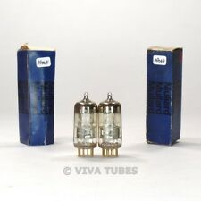 True NOS-NIB Date Matched Pair Amperex Holland E88C [6DL4] 3 Mica GOLD PIN Tubes