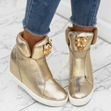 AMAZING WOMENS  WEDGE HIGH TOP SNEAKERS TRAINERS.. Gold***Silver ++%#$#$#