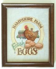 Hampshire Farm Fresh Eggs Completed Framed Cross Stitch Chicken 9 x 11