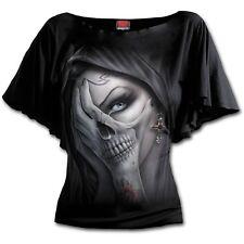 Spiraldirect Dead Hand Boat Neck Bat Sleeve Top Black|skulls|vixen|cross L