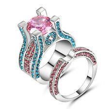 pink Topaz / Blue Gemstone AAA Nice 10kt White gold filled Ring Set Size 7 Gift