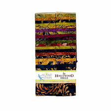 Island Batik Hollywood Hills Green Rust Purple Batiks Jelly Roll Strips Pack 40
