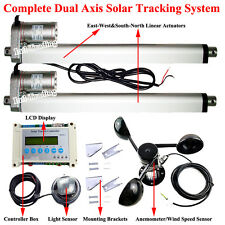 "Dual Axis 14"" Linear Actuator+LCD Controller+Wind Spd Sensor Solar Tracker Track"