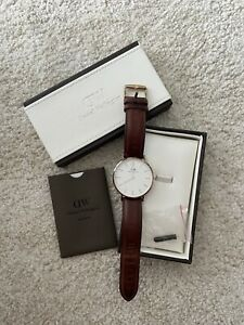 Daniel Wellington Classic Unisex Quartz Watch Brown Leather Strap With Box