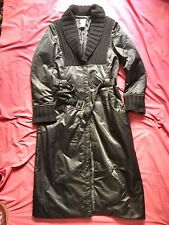 Abrigo largo acolchado Rech Sport T42 color negro, cuello lana