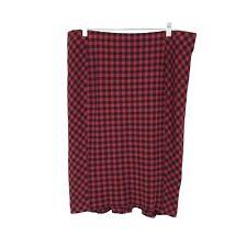 J Jill Womens Sz L Ponte Knit Pull On Pencil Skirt Red Black Buffalo Check Plaid