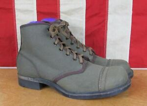 Vintage 1930s Military OD Green Canvas Ankle Boots WWII era Army Rare Antique