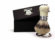 Sliver Tip Badger Hair Shaving Brush For Men's with Antique Ivory & Metal. Gift