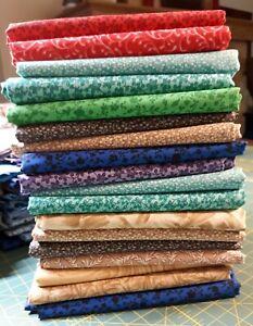 Quilt Fabric Bundle. 18 cotton half yard prints (18x44 inches). 9 yards. Lot 2