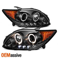 Fits Black 08-10 Scion Tc Dual Halo Projector LED Headlights Lamp Set Left+Right