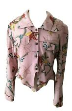 VTG PINK FLORAL Button tie front long sleeve tailored blouse shirt UK 12