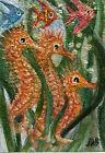 Original Art ACEO OAK Seahorses Seaweed Swimming  School of Fish Salt Water