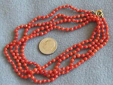 """39""""  Vintage Antique Natural Italian Red Coral Bead Necklace 12gms"""