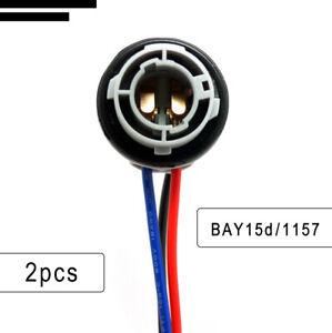 2X Car Van 1157 BAY15D Turn Light Brake Bulb Sockets Wire Harness Plug LED Bulbs