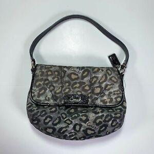 COACH Silver/Black Ocelot Leopard Print Small Bag Purse w/Black Trim and Charm