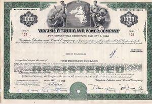 $1000 bond Virginia Electric & Power Company. State of Virginia