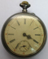 ANTIQUE SWISS PRIVATE LABEL SILVER FILLED OPEN FACE POCKET WATCH -NOT WORKING **