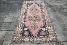 3'9x7'5 Ft Runner Rug Handwoven Rug Beige Pink Vintage Rugs Turkish Carpet 2435