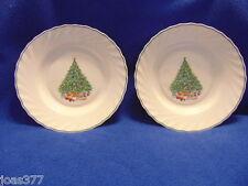 """2 White House of Salem Porcelle Noel Pattern Soup Bowls or Salad Plate 9"""" MINT"""
