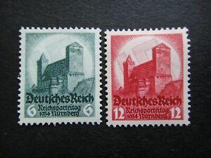 Germany Nazi 1934 Stamps MINT Swastika Sun Nuremberg Castle Third Reich Deutschl