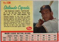 1962 Post #136 Orlando Cepeda EX-EX+ Wrinkle San Francisco Giants FREE SHIPPING