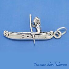 Kayak /& Paddle sterling silver charm .925 x 1 Kayaking /& Kayaks charms CF5826