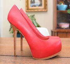 BEBE Red Stiletto High Heels - Size 8 Pumps Women's Platform Sexy Leather Sole