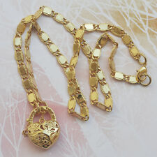 """9K Yellow Gold Filled Necklace Solid  Chain With Heart Locket """"Stamp 9K"""""""