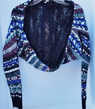 Free People Knit Lace Women Shrug Sweater Cover Up Multi Colors Nordic Winter XS