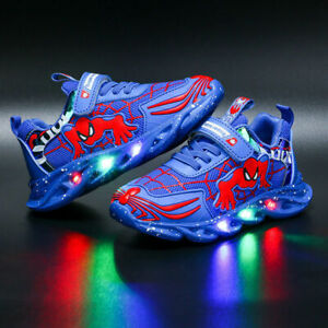 Boys Spiderman LED Light Up Trainers Girls Cartoon Sneakers Walking Casual Shoes