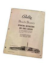 Bally BEACH BEAUTY Original Pinball Bingo Machine Operating Manual