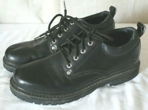 Skechers Mens Leather Upper Black Color Size 9.5 Medium Casual Or Work