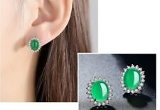 Beautiful Emerald Green Oval 925 Sterling Silver Stud Earring Gift Box K42