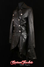 Ladies ENVY Black Victorian Military High Fashion Long Leather Jacket Tailcoat