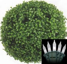 """13"""" Artificial Boxwood Ball Topiary Christmas In Outdoor with Holiday Light Tree"""