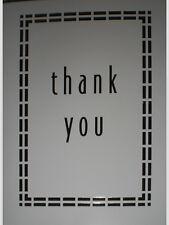 Metallic Silver Dash Border Thank You Note Cards w/ Envelopes