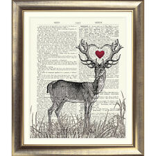 ART PRINT ON ANTIQUE DICTIONARY PAGE Stag heart Deer Picture VINTAGE Love Old