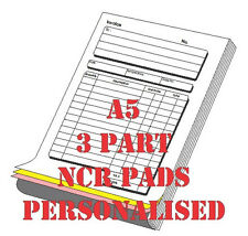 5 x PERSONALISED A5 NCR Invoice/receipt  PADS (3 part )