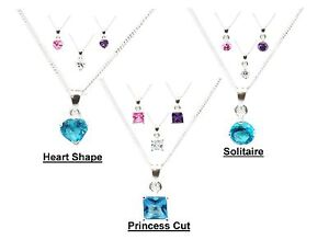 Toc Sterling Silver Heart Solitaire Princess Cut Pendant Necklace Gift for Her