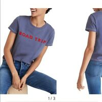 Madewell Women's Size Medium Embroidered Road Trip Tee T-shirt 100% Cotton