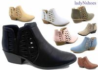 New Women's Spring Low Heel Western Zipper Ankle Booties Shoes Size 5.5 - 11
