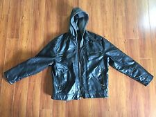 Calvin Klein Men's Black Faux Leather Jacket With Grey Hood Large