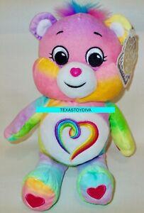 "9"" Care Bears Togetherness Bear Stuffed Bean Plush Rainbow Heart Colors Vary"