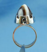 Finland 830 Silver Ring Big Pointed Stone Martti Viikinniemi Midcentury